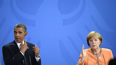 MERKEL OG OBAMA: Både Barack Obama og Angela Merkel er sterke tilhengere av nye harde sanksjoner mot Russland i et forsøk på å presse landet til å la Ukraina få styre sin egen fremtid.