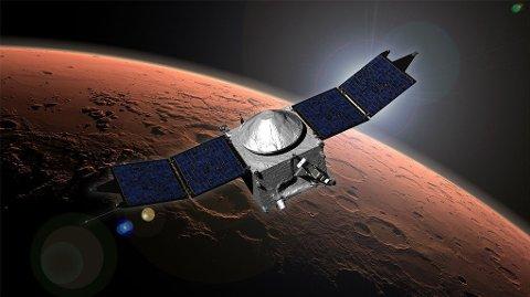 SKUTT OPP I FJOR: Mars Atmosphere and Volatile Evolution (Maven) ble skutt opp 18. november i fjor. Det er det første romfartøyet som er konstruert spesielt med sikte på å utforske og gi forståelse av Mars' øvre atmosfære.