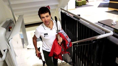 I NORGE: Skiskytter Ole Einar Bjørndalen er hjemme i Norge etter et høydeopphold. Onsdag morgen var det pressekonferanse på Olympiatoppen i Oslo.