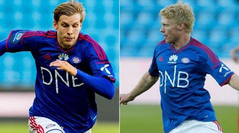 VRAKET: Niklas GUnnarsson og Sivert Heltne Nilsen så lørdagens kamp fra tribunen.