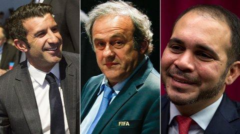 FAVORITTER: Luis Figo, Michel Platini og Prins Ali av Jordan.