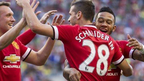 SCORET: Memphis DEpay scoret sitt første mål for Manchester United.
