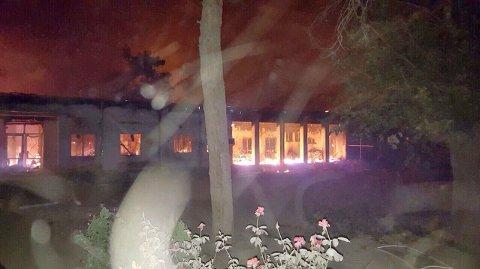 BRANT: Sykehuset i Kunduz i Afghanistan ble truffet av bomber i et amerikansk luftangrep.