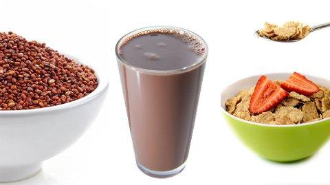 GIR DEG ENERGI: Quinoa, sjokolademelk og frokostblanding med fullkorn.