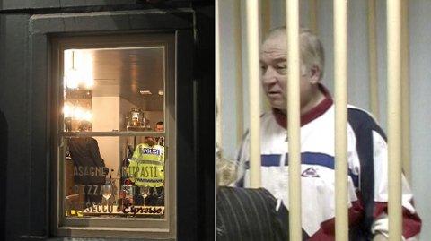 Bildet til venstre viser britisk politi som jobber på et mulig åsted i Salisbury. Sergej Skripal (til høyre, arkivfoto) mistenkes for å ha fått i seg et uidentifisert stoff etter at han og en kvinne plutselig kollapset og ble kritisk syke på et kjøpesenter på søndag.