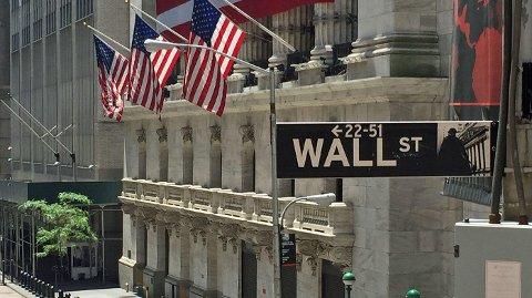 NEW YORK STOCK EXCHANGE ligger i Wall Street på Manhattan.