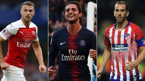 GRATIS: Aaron Ramsey, Adrien Rabiot og Diego Godín er alle tilgjengelige på free transfer sommeren 2019. Rabiot har ifølge Sky Italia allerede kommet til enighet med Barcelona.