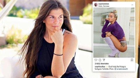 SVARER PÅ KRITIKKEN: Med dette bildet velger Sophie Elise å svare på kommentaren fra Kristin Gjelsvik om at hun er «Norges farligste forbilde». Foto: Privat (Instagram)