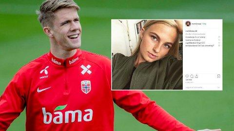 LIVET SMILER: Kristoffer Ajer bekrefter at han og Marte Köpp er et par.