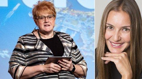 REAGERER: Kommunikasjonsrådgiver i Nordic Entertainment Group, Linn Vee Hanum (t.h.) mener kulturminister Trine Skei Grandes nyeste lovforslag vil rasere TV-produksjonsmiljøet i Oslo.