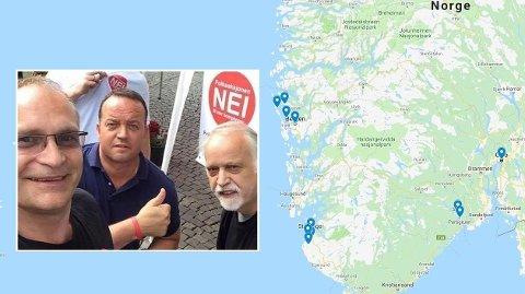 BOMPENGEMOTSTAND: Frode Myrhol (i midten) startet Folkeaksjonen NEI til mer bompenger. Nå har partiet spredt seg over store deler av Sør-Norge. Her er han avbildet sammen med partikollega Leif Høybakk (til venstre) og Jan Henning Råke (til høyre).