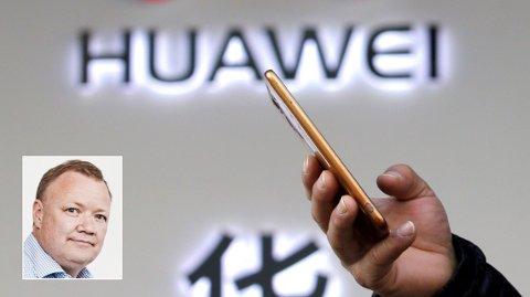 KRITISK: Svartelistingen i USA rammer Huawei hardt, siden telefonene og nettverksteknologien er basert på mye vestlig teknologi. Telekom-analytiker John Strand (innfelt) tror det blir vanseklig for Huawei å klare seg uten vestlig teknologi .