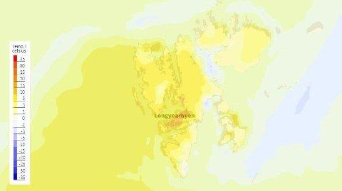 GODE TEMPERATURER: Det ser ut til å bli gode temperaturer i Longyearbyen lørdag.