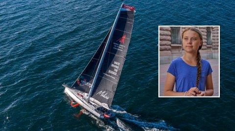 Den 60 fot lange Malizia II har vært tre ganger rundt jordkloden allerede. Greta Thunberg forsikrer at den er utstyrt med solcellepanel og undervannsturbiner for å få en utslippsfri ferd over Atlanterhavet.