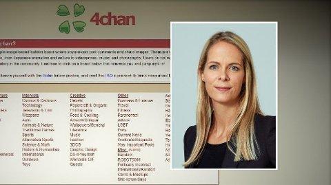 ÅPEN PLATTFORM: 4chan og kanalen Pol er ifølge forsker Cathrine Thorleifsson ved Senter for ekstremismeforskning ved Universitet i Oslo (innfelt) en av flere boltreplasser for høyreekstreme ytringer og bilder.
