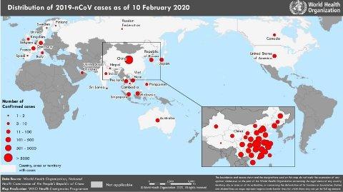 Kartet, som er utviklet av Verdens helseorganisasjon (WHO), viser spredningen av bekreftede smittetilfeller i verden per mandag 10. februar.