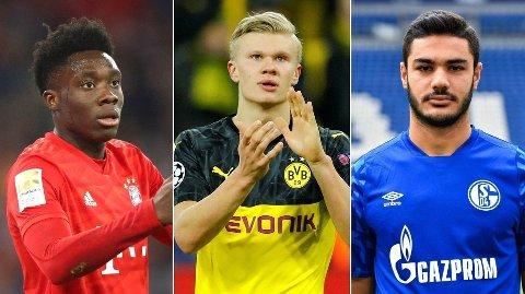 MORGENDAGENS STJERNER: Alphonso Davies, Erling Braut Haaland og Ozan Kabak er tre av talentene Eivind Bisgaard Sundet tror kan ta Bundesligaen med storm.