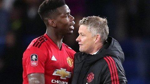 OMDISKUTERT: Manchester Uniteds Paul Pogba, her med manager Ole Gunnar Solskjær.