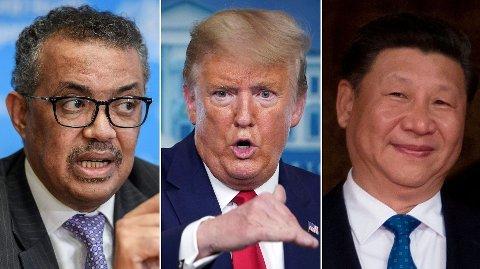 MEKTIGE MENN: WHOs generalsekretær Tedros Adhanom Ghebreyesus (t.v.), Donald Trump og Kinas Xi Jinping er alle fullt opptatt på sitt vis med å bekjempe korona-pandemien.