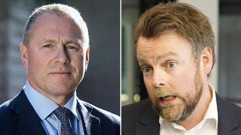 GUTTA PÅ TUR: Oljefondets Nicolai Tangen og minister Torbjørn Røe Isaksen.