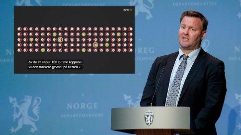 Denne uken fortalte NRK Folkeopplysningen om hvordan testing av mange friske personer kan føre til at mange feilaktig får påvist en sykdom de ikke har. Helsedirektoratets Espen Rostrup Nakstad avviser at dette er en utfordring med korona-testen.