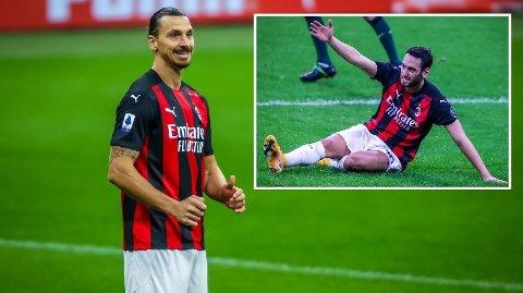 LA LITE IMELLOM: Zlatan Ibrahimovic og Hakan Calhanoglu ga hverandre klar beskjed underveis i kampen mellom AC Milan og Hellas Verona søndag.