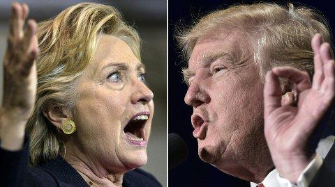 Hillary Clinton og president Donald Trump er fortsatt bitre fiender. Her er de begge fotografert i forbindelse med valgkampen i 2016.