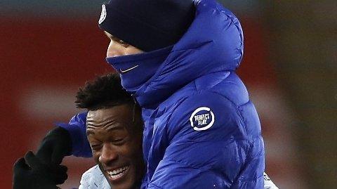 Chelsea manager Thomas Tuchel og Callum Hudson-Odoi.