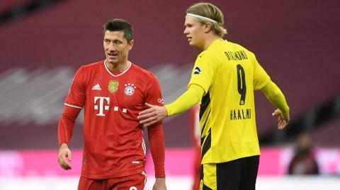 Robert Lewandowski og Erling Braut Haaland er begge toppscorere. Den polske superspissen er den mestscorende spilleren i Bundesliga, mens nordmannen er troner øverst på scoringslisten i årets Champions League.