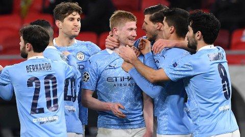 Vi tror det blir mer Manchester City-jubel lørdag. Her fra tirsdagens Champions League-oppgjør mot tyske Borussia Mönchengladbach.