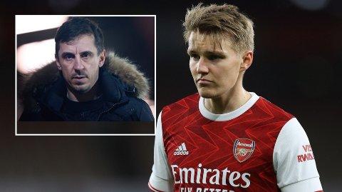 FÅR GODKJENT: Gary Neville gir Martin Ødegaard godkjent, men kaller resten av angrepsrekken en liten mafia.