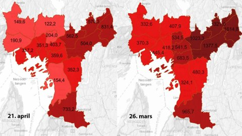 Smittetrykket i Oslo med knappe fire ukers mellomrom. Legg spesielt merke til Groruddalen som har fått tilført ekstra mange vaksiner.