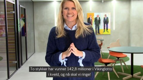 DOBBEL-MORO: Trekningsredaktør Pernille Storholm Skaret var på jobb da to nordmenn vant 142,8 millioner kroner hver i november 2018.