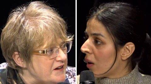 Trine Skei Grande og Mina Adampour var ikke enige i debatten om at barnebøker som kan oppfattes rasistisk, bør fjernes fra Deichman bibliotek.