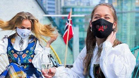 Forretningskvinnene og venninnene Ingrid Emma Jacobsen og Mari Nickoline Floden opplever stor pågang etter munnbind som dette. Her ser vi et muntert øyeblikk fra 17. mai i fjor.