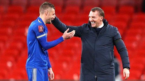 Manager Brendan Rodgers friskmelder Jamie Vardy (t.v) til fredagens kamp mot Newcastle.