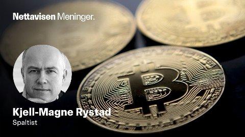 Bitcoin lages elektronisk ved hjelp av enorm datakraft og tilhørende klimagassutslipp. Fysiske Bitcoin som vist på bildet her finnes bare som souvenirer.