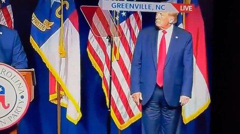Lørdag var Trump tilbake i den politiske manesjen da han talte under den republikanske delstatskonferansen i Nord-Carolina.