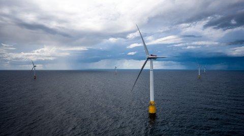 FRAMTIDSNÆRING: Store industrielle aktører ruster seg for å delta i konkurransen om havvind-utbygging i Nordsjøen. Her fra Equinors Hywind Buchan utenfor Skottland.