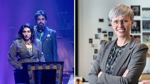 YTRINGSROM: t.v. Shabana Rehman og Zahid Ali gjester scenestykket Sløserikommisjonen. T.h. Susanne Næss Nielsen i Danse- og teatersentrum.