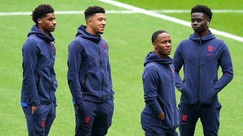 UTSATT RASISME: Marcus Rashford, Jadon Sancho og Bukayo Saka ble utsatt for grove rasistiske kommentarer etter finaletapet mot Italia.