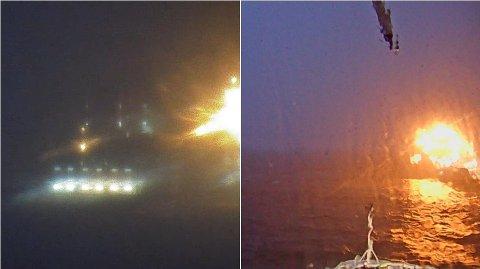 Bildet til venstre viser Hurtigruteskipet MS Kong Harald avbildet på livekamera på land rundt 22.00, tirsdag kveld. Bildet til høyre er tatt med webkamera om bord på skipet rundt 21.45, tirsdag kveld.
