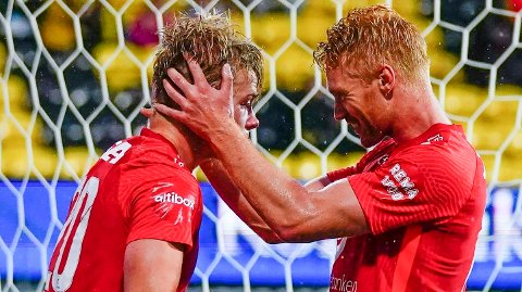 Vi tror Aune Selland Heggebø (t.v.) og Sivert Heltne Nilsen får en opptur i søndagens hjemmekamp mot Stabæk.