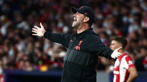 RASENDE: Jürgen Klopp ble rasende på en reporter etter tirsdagens Champions League-kamp mot Atletico Madrid.