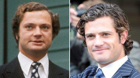LIGNER: Carl Gustaf (her oppi 30-årene) og sønnen Carl Philip (blir 30 år). Far og sønn ligner voldsomt i sine yngre dager.