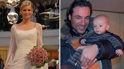 MED PÅ VISNING: Kathrine Sørlands ektemann, Andreas Holck, viser fram Leon mens mamma viste brudekjoler.