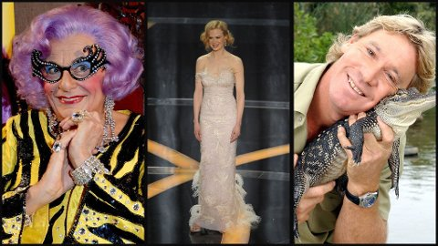BERØMTE: Dame Edna, Nicole Kidman og Steve Irwin er bare noen få av Australias store stjerner.