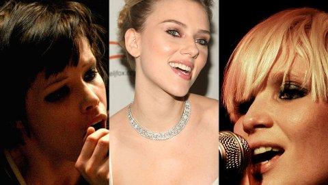 PENT TREKLØVER: Alice Glass, Scarlett Johansson og Sharin Foo er alle på vår liste over verdens hotteste rockejenter.