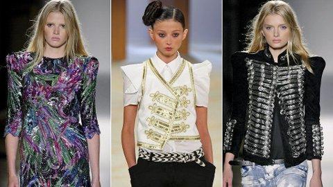 BRED LAST: Flere designere har variasjoner av brede skuldre i sine vår-/ sommerkolleksjoner