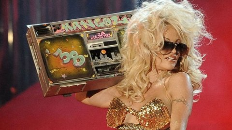 Actress Pamela Anderson performs on stage during the opening ceremony of the 17th Life Ball in Vienna on May 16, 2009.